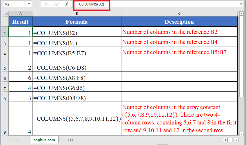 How to use COLUMNS Function in Excel