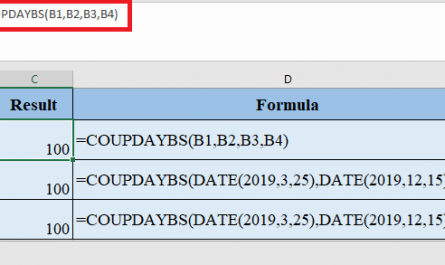 COUPDAYBS Function in Excel 445x265 - How to use COUPDAYBS Function in Excel