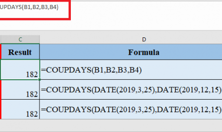 COUPDAYS Function in Excel 445x265 - How to use COUPDAYS Function in Excel