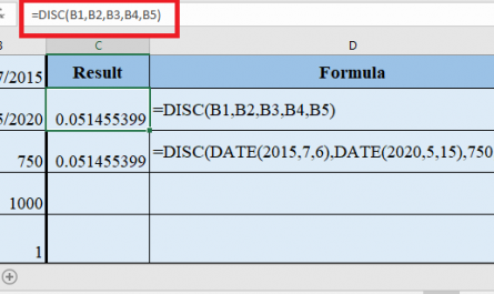 DISC Function in Excel 1 445x265 - How to use DISC Function in Excel