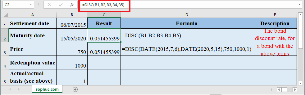 How to use DISC Function in Excel