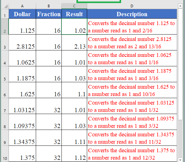 How to use DOLLARFR Function in Excel