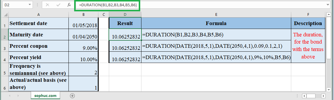 How to use DURATION Function in Excel
