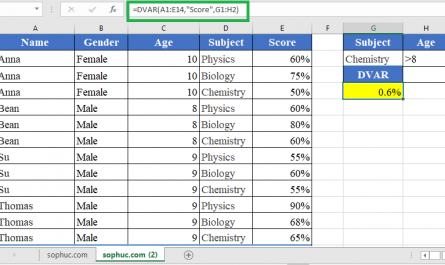 DVAR function in excel 445x265 - How to use the Excel DVAR function