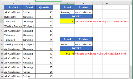 Excel DVARP function 1 445x265 - How to use the Excel DVARP function