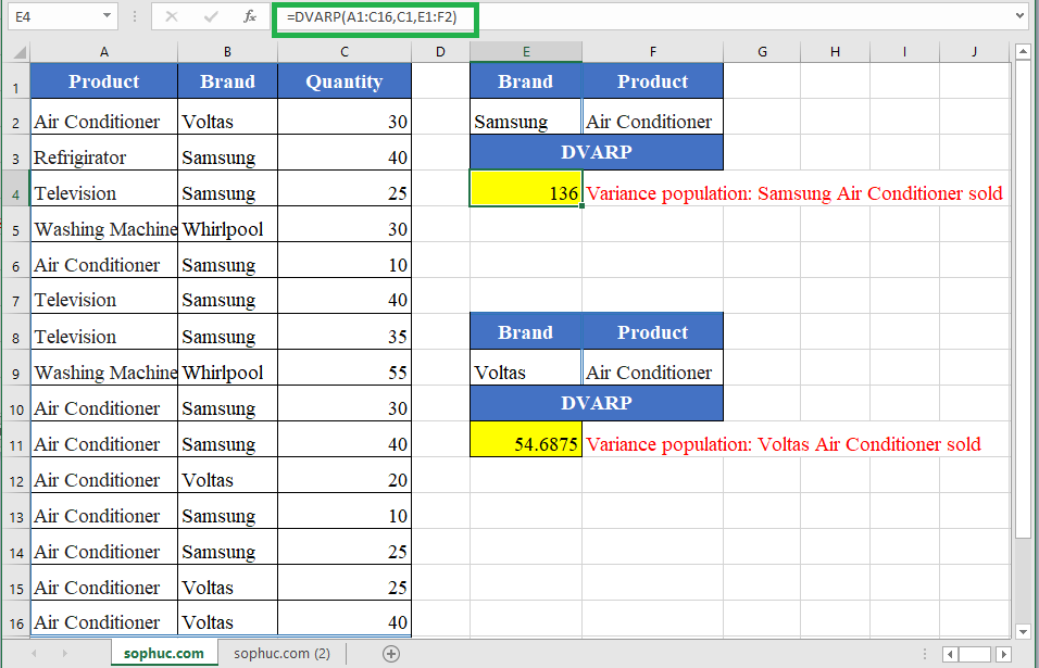 How to use the Excel DVARP function