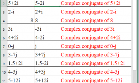 IMCONJUGATE Function in Excel 1 445x265 - How to use IMCONJUGATE Function in Excel