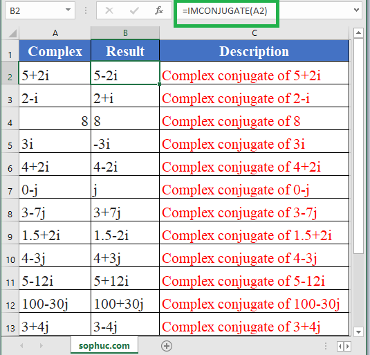 How to use IMCONJUGATE Function in Excel