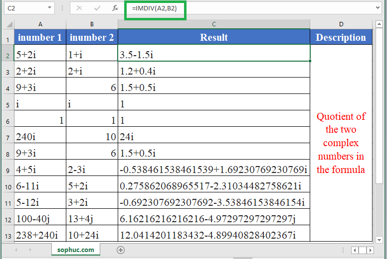 How to use IMDIV Function in Excel