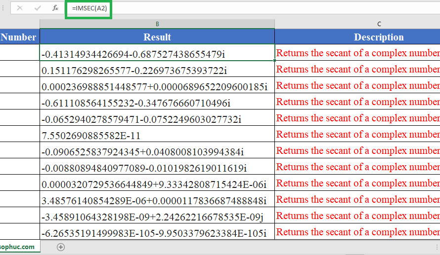 How to use IMSEC Function in Excel