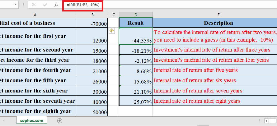 How to use IRR Function in Excel