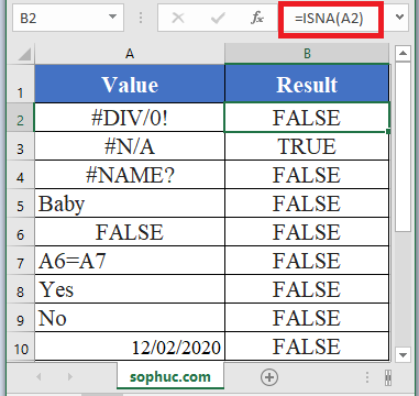 ISNA Function in Excel 1 - How to use ISNA Function in Excel