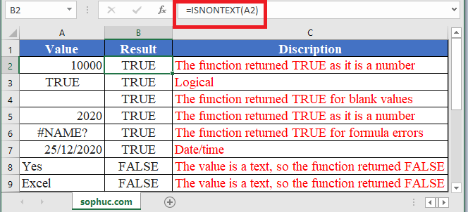How to use ISNONTEXT Function in Excel