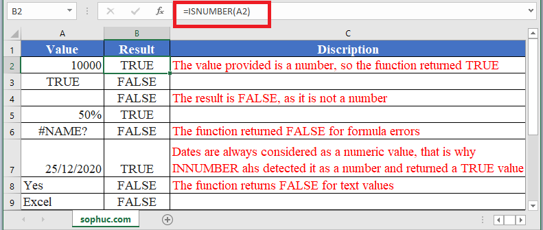 How to use ISNUMBER Function in Excel