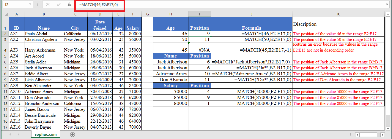 MATCH Function in Excel - How to use MATCH Function in Excel