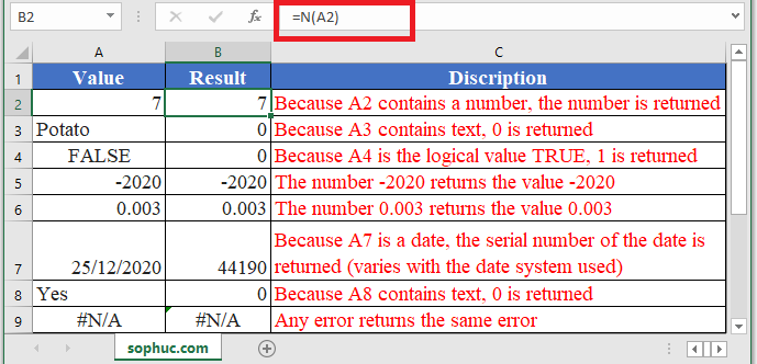 How to use N Function in Excel