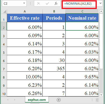 How to use NOMINAL Function in Excel