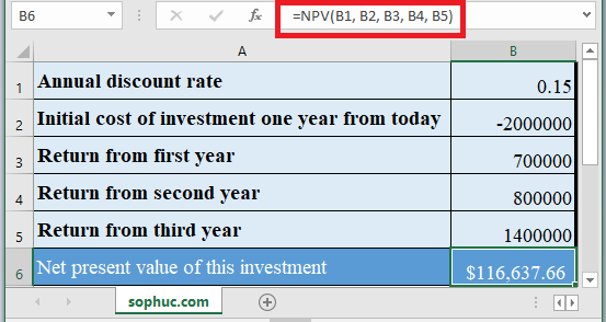 NPV Function in Excel 1 - How to use NPV Function in Excel