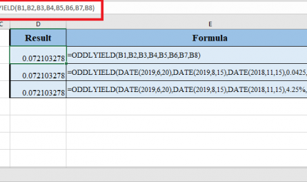 ODDLYIELD Function in Excel 445x265 - How to use ODDLYIELD Function in Excel