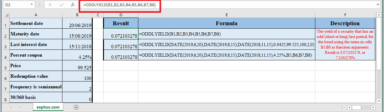 How to use ODDLYIELD Function in Excel