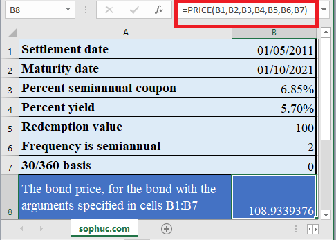 How to use PRICE Function in Excel