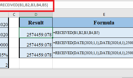 RECEIVED Function in Excel 1 445x262 - How to use RECEIVED Function in Excel
