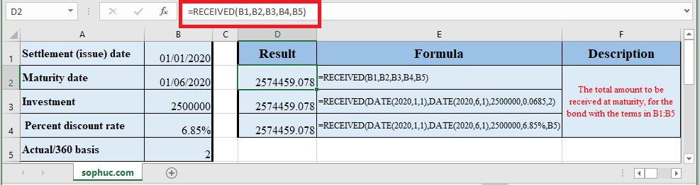 How to use RECEIVED Function in Excel