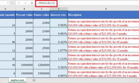 RRI Function in Excel 1 445x265 - How to use RRI Function in Excel