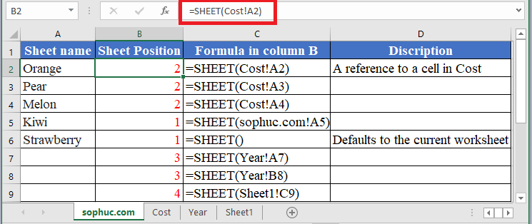 How to use SHEET Function in Excel