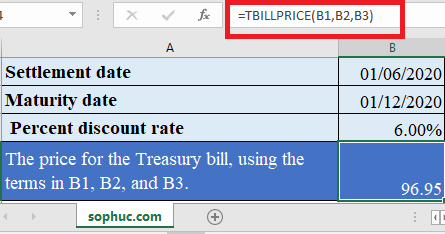 TBILLPRICE Function in Excel 1 445x234 - How to use TBILLPRICE Function in Excel