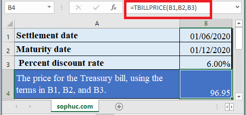 How to use TBILLPRICE Function in Excel
