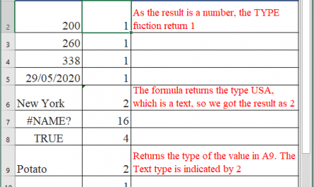 TYPE Function in Excel 445x265 - How to use TYPE Function in Excel