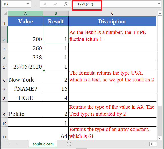 How to use TYPE Function in Excel
