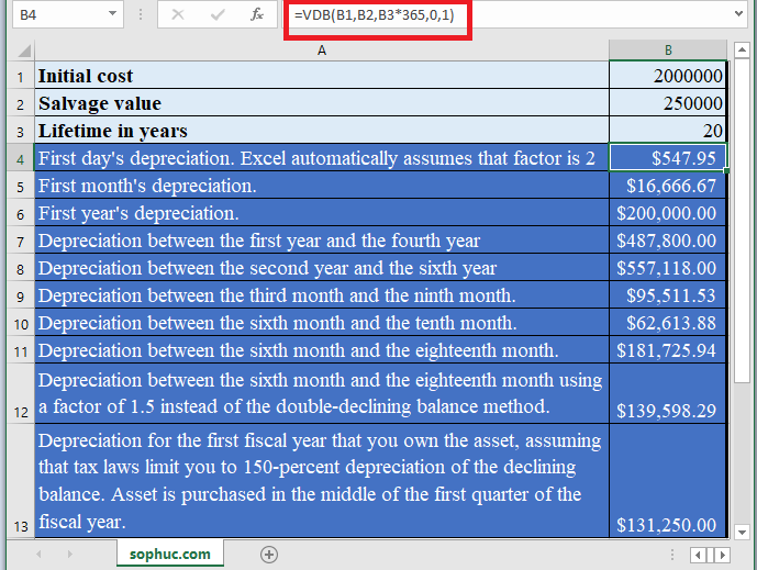 How to use VDB Function in Excel