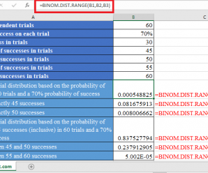 How to use BINOM.DIST.RANGE Function in Excel