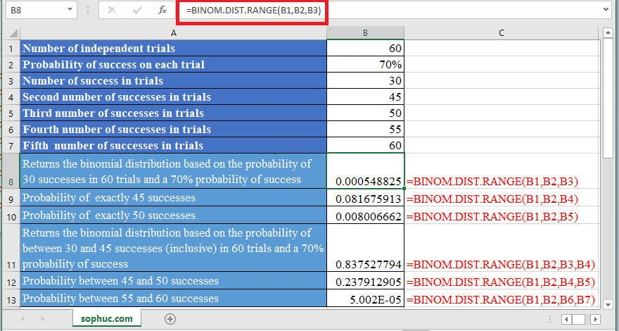 BINOM.DIST .RANGE Function in Excel 1 - How to use BINOM.DIST.RANGE Function in Excel