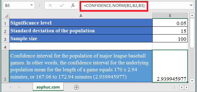 CONFIDENCE.NORM Function 1 - How to use CONFIDENCE.NORM Function in Excel