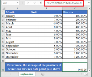 How to use COVARIANCE.P Function in Excel