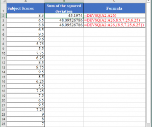 How to use DEVSQ Function in Excel