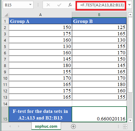 F.TEST Function in Excel - How to use F.TEST Function in Excel