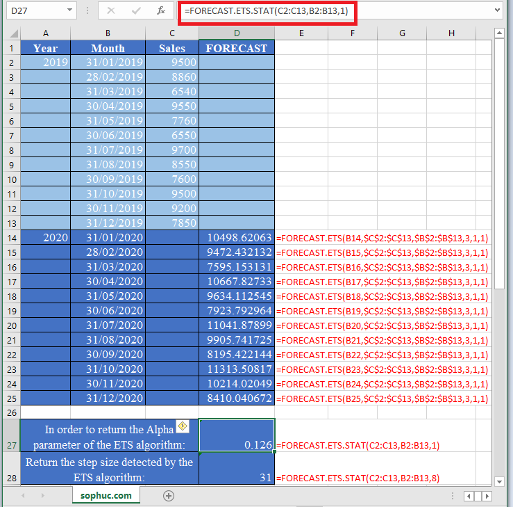FORECAST.ETS .STAT Function 1 - How to use FORECAST.ETS.STAT Function in Excel