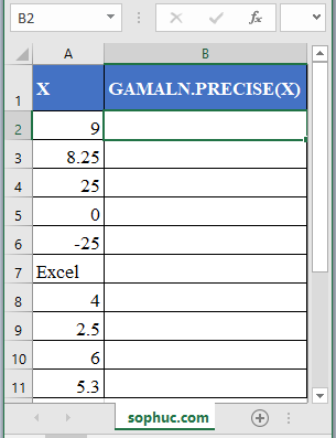 GAMMALN.PRECISE Function - How to use GAMMALN.PRECISE Function in Excel