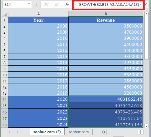 GROWTH Function in Excel 1 - How to use GROWTH Function in Excel
