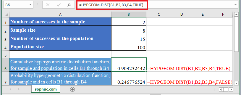 HYPGEOM.DIST Function in Excel 1 - How to use HYPGEOM.DIST Function in Excel