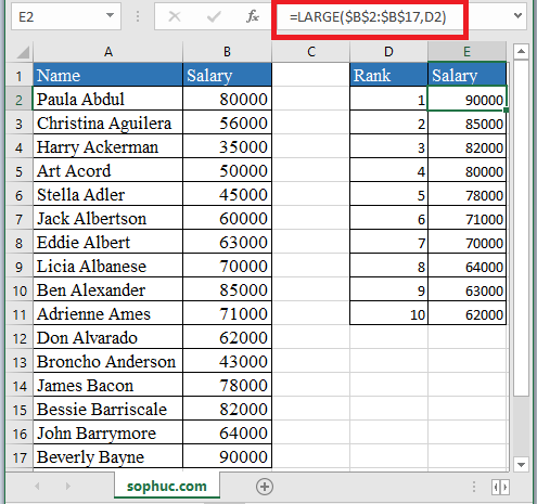 LARGE Function in Excel - How to use LARGE Function in Excel