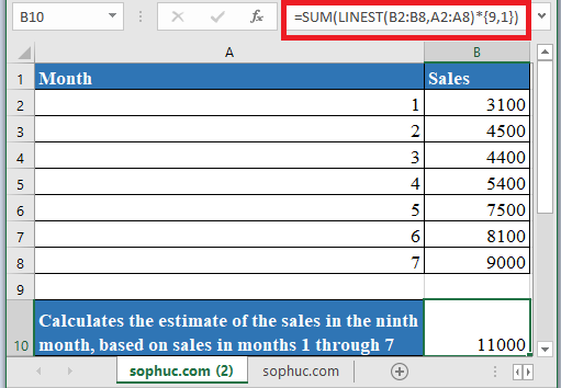 LINEST Function 1 - How to use LINEST Function in Excel