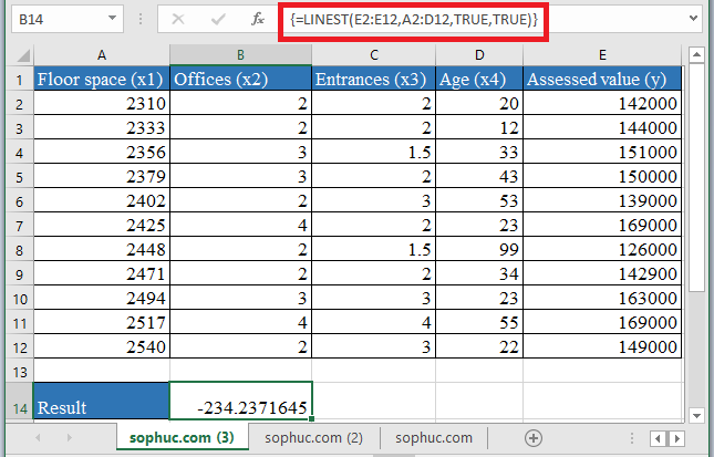 LINEST Function 2 - How to use LINEST Function in Excel