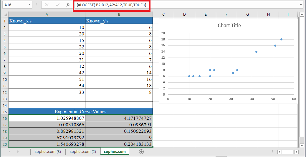 LOGEST Function 2 - How to use LOGEST Function in Excel