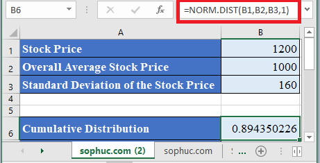 NORM.DIST Function in Excel 1 - How to use NORM.DIST Function in Excel