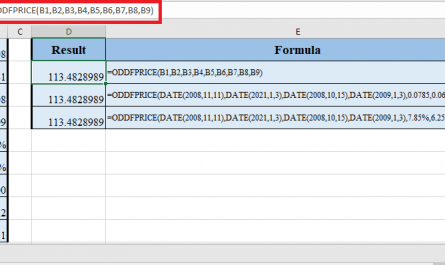ODDFPRICE Function in Excel 1 445x265 - How to use ODDFPRICE Function in Excel